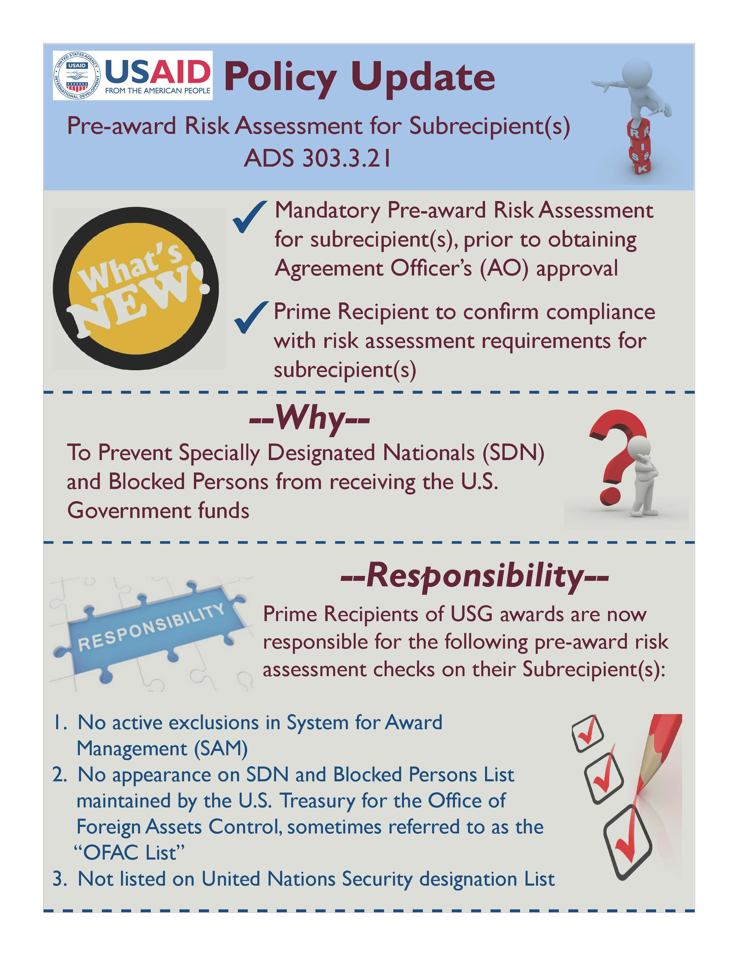 Infographic: Pre-award Risk Assessment for Sub recipient(s) ADS 303.3.21