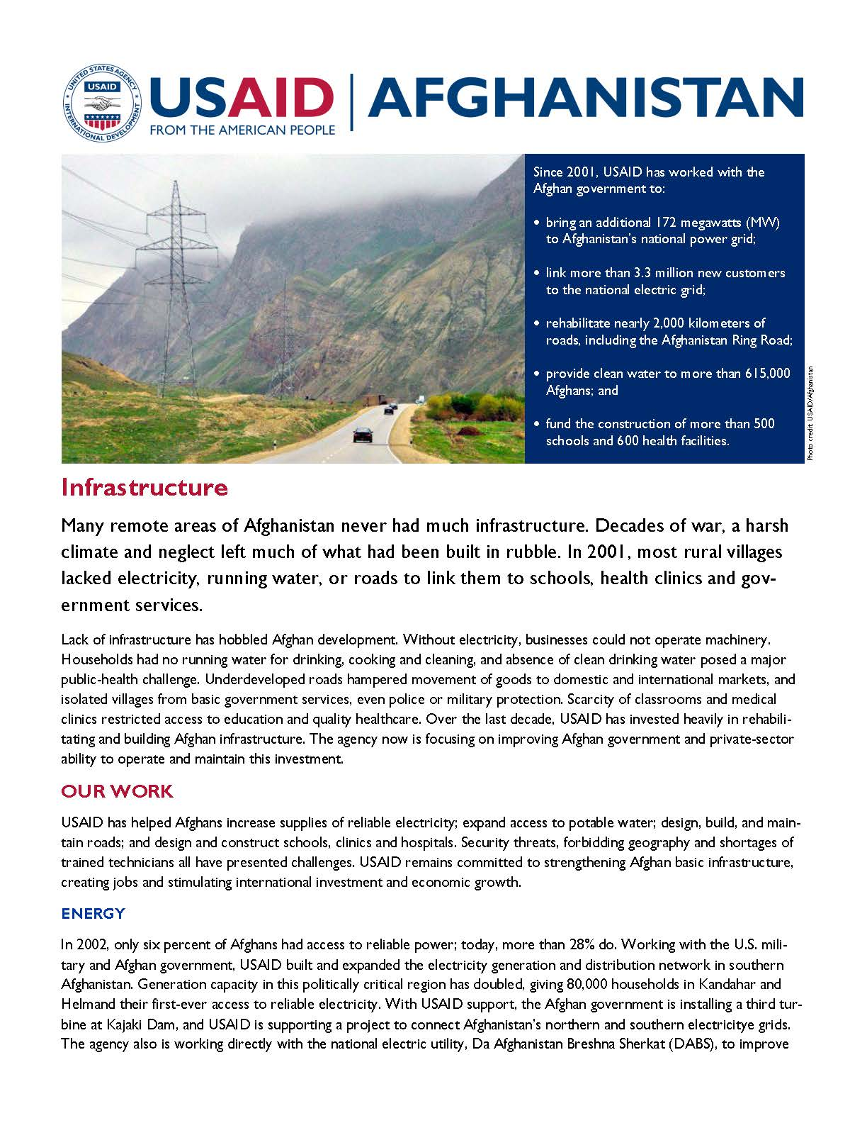 Infrastructure Fact Sheet - Aug 2014