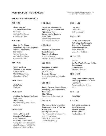 Innovation Marketplace Program and Schedule