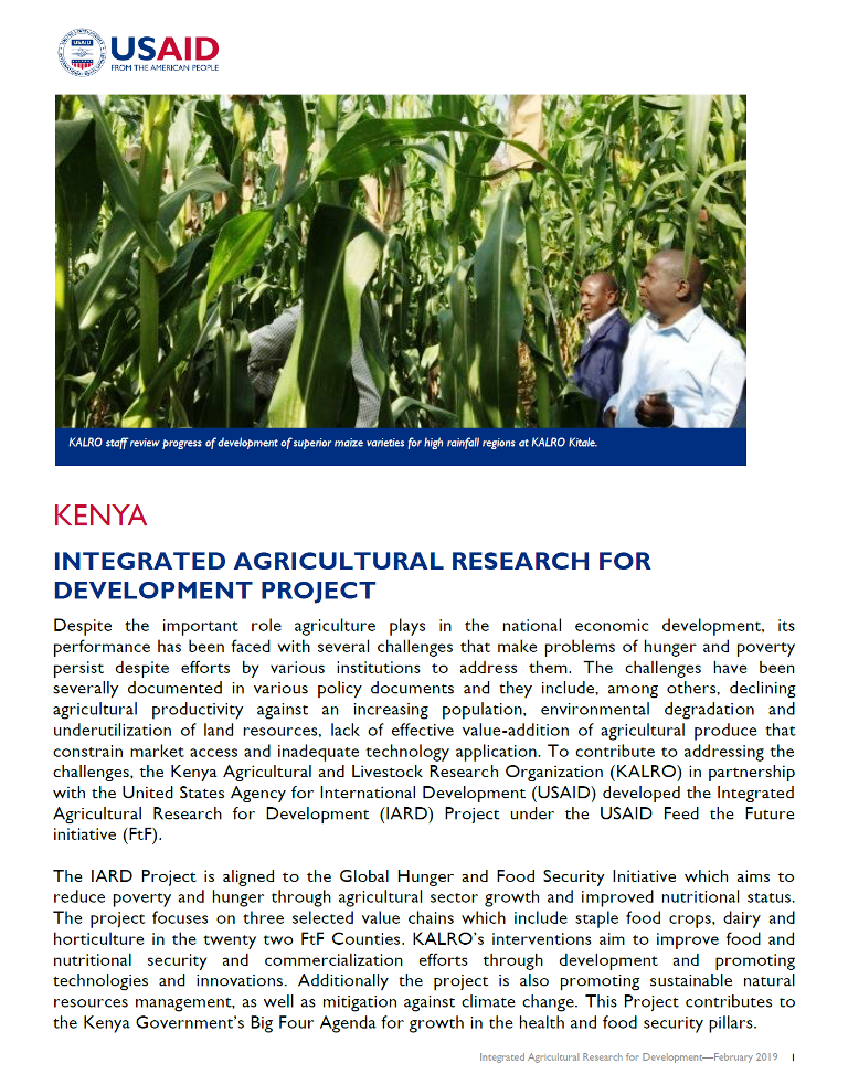 Integrated Agricultural Research for Development (IARD) fact sheet
