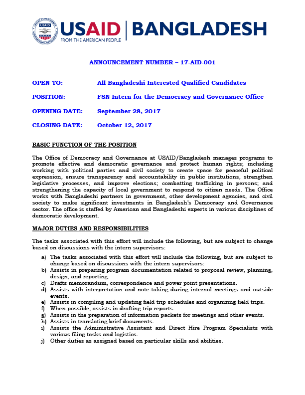 Bangladesh Vacancy Announcement 17-AID-001 – Internship Opportunity, Office of Democracy and Governance