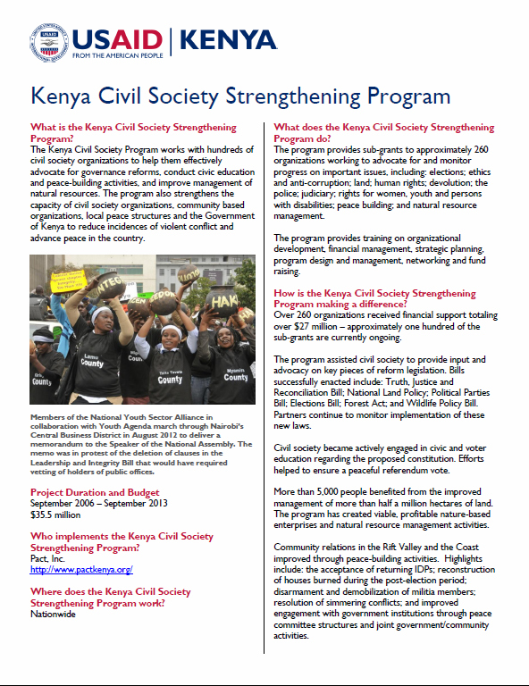 Kenya Civil Society Strengthening Program FACT SHEET_March 2013