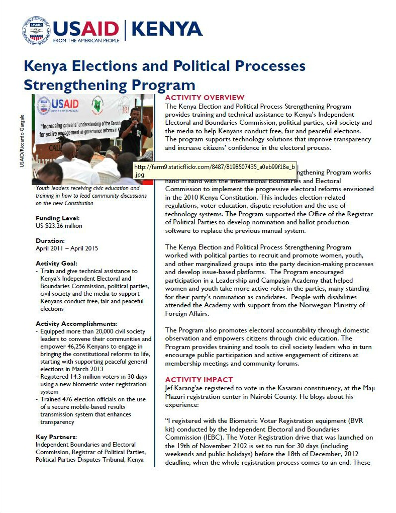 Kenya Election and Political Processes Strengthening Program_February 2014