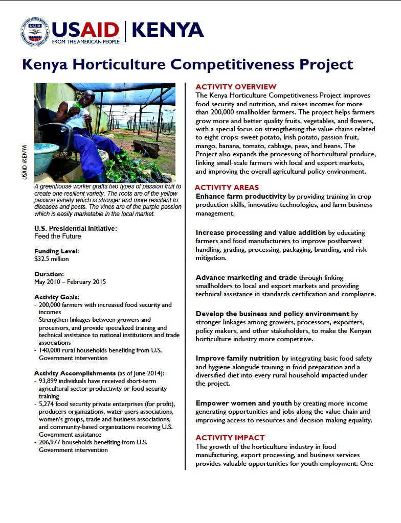 Kenya Horticulture Competitiveness Project Fact Sheet_August 2014
