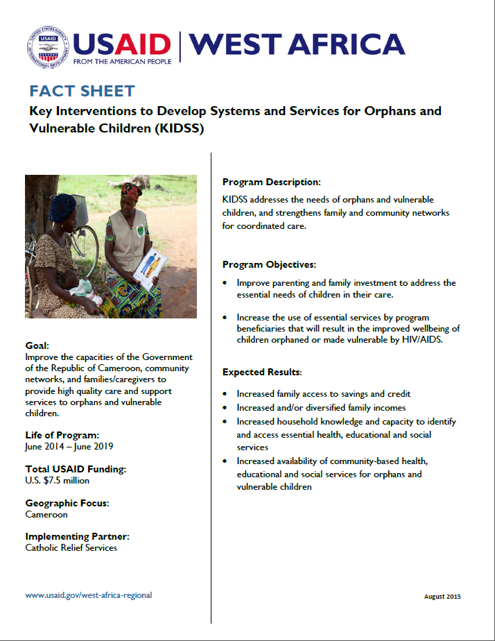 Fact Sheet on Key Interventions to Develop Systems and Services for Orphans and Vulnerable Children (KIDSS)