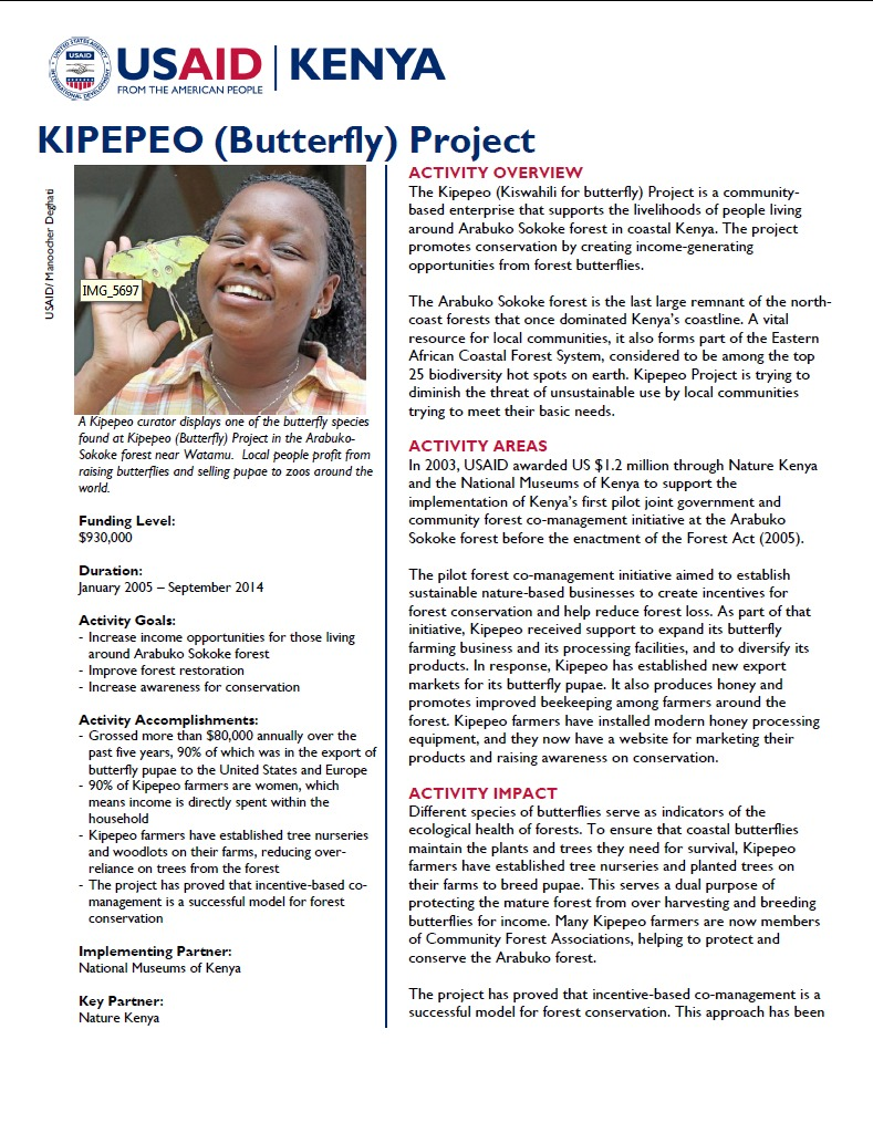 KIPEPEO (Butterfly) Project Fact Sheet.September 2014