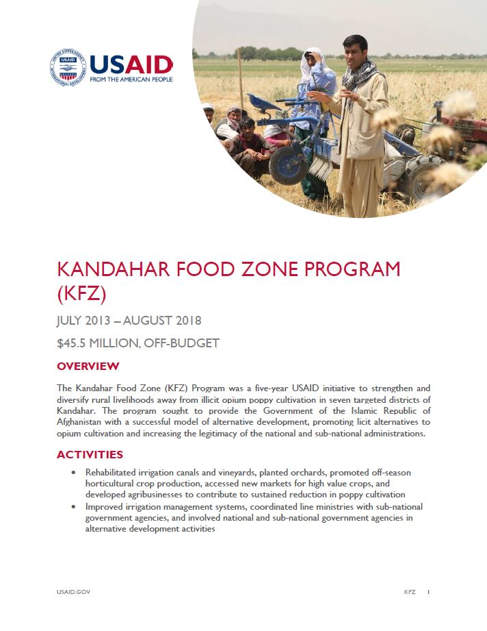 Kandahar Food Zone (KFZ) Program