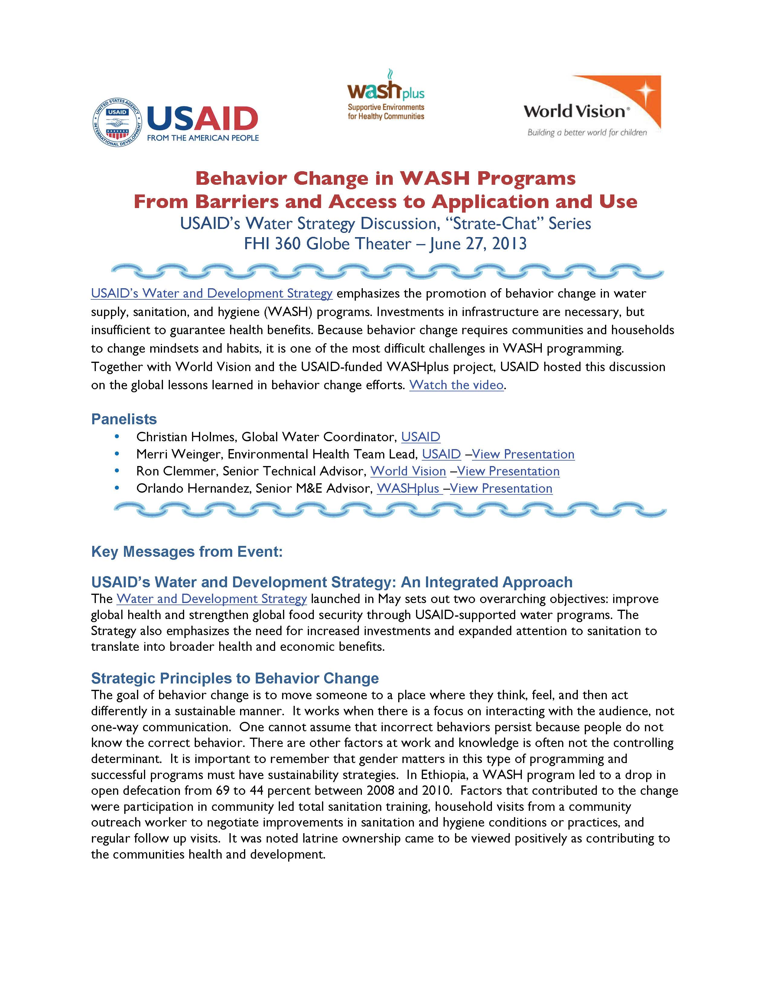 Key Takeaways - Behavior Change in WASH Programs: From Barriers and Access to Application and Use