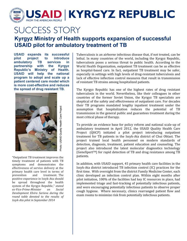 Kyrgyz Ministry of Health supports expansion of successful USAID pilot for ambulatory treatment of TB