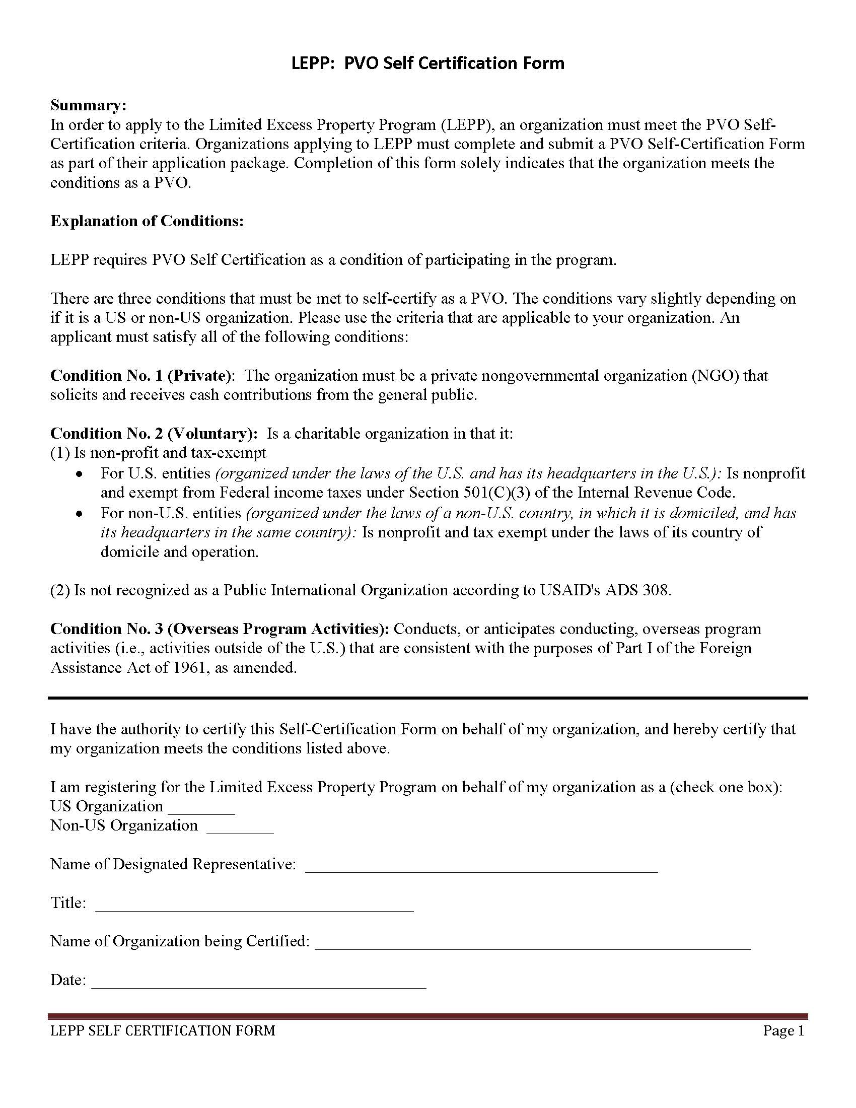 PVO Self-Certification Form