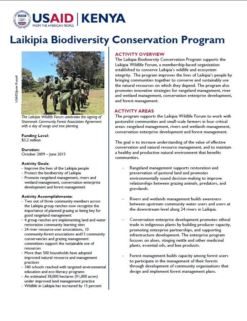 Laikipia Natural Resource Management and Biodiversity Conservation Program Fact Sheet.September 2014