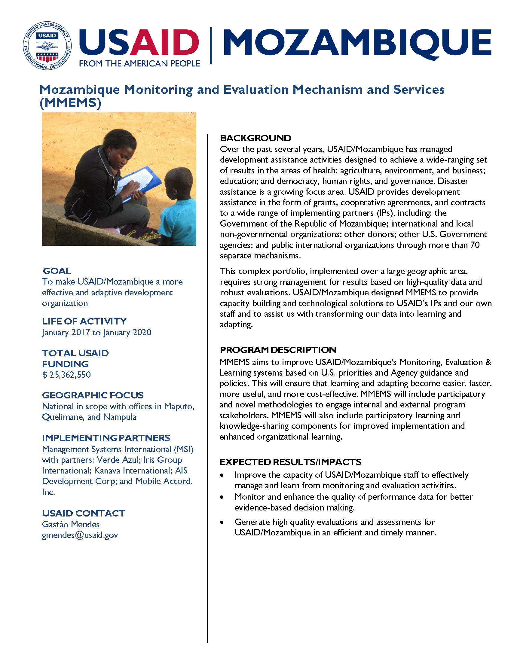 Mozambique Monitoring and Evaluation Mechanism and Services Fact Sheet