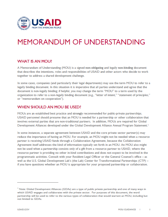memorandum of understanding guidance u s agency for international