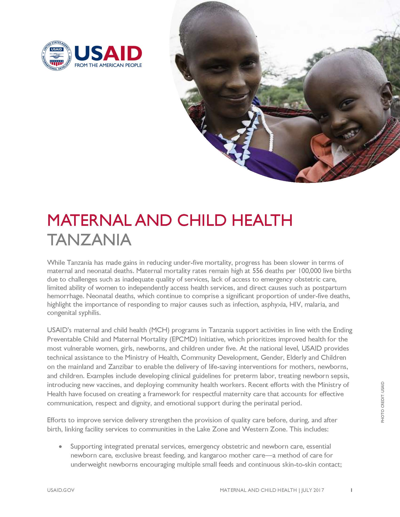 Maternal and Child Health Fact Sheet
