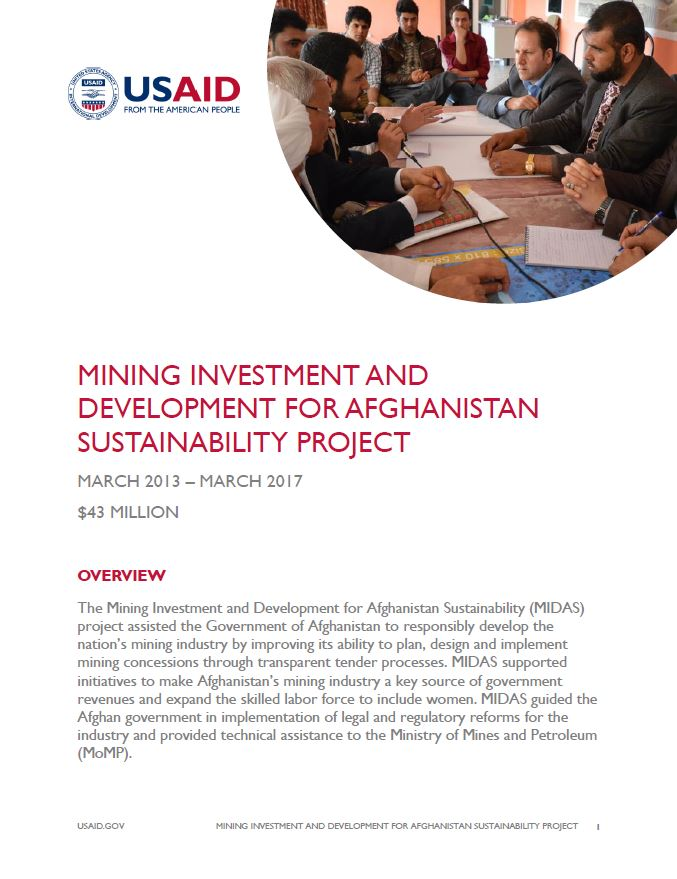 Mining Investment and Development for Afghanistan Sustainability (MIDAS)