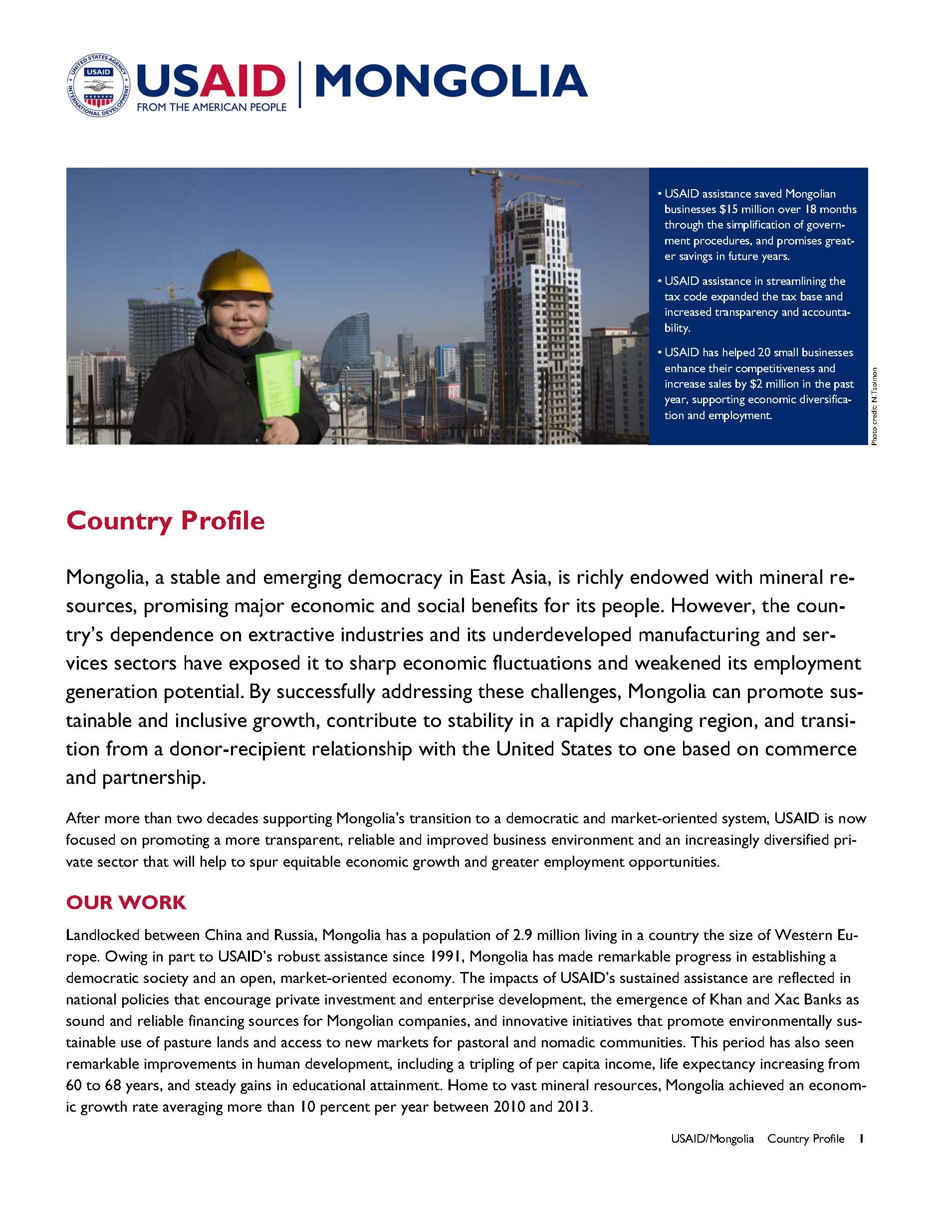Mongolia Country Profile [PDF]