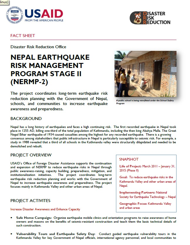 Nepal Earthquake Risk Management Program Stage II (NERMP-2)
