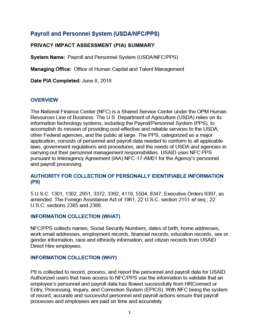 Payroll and Personnel System (USDA/NFC/PPS)