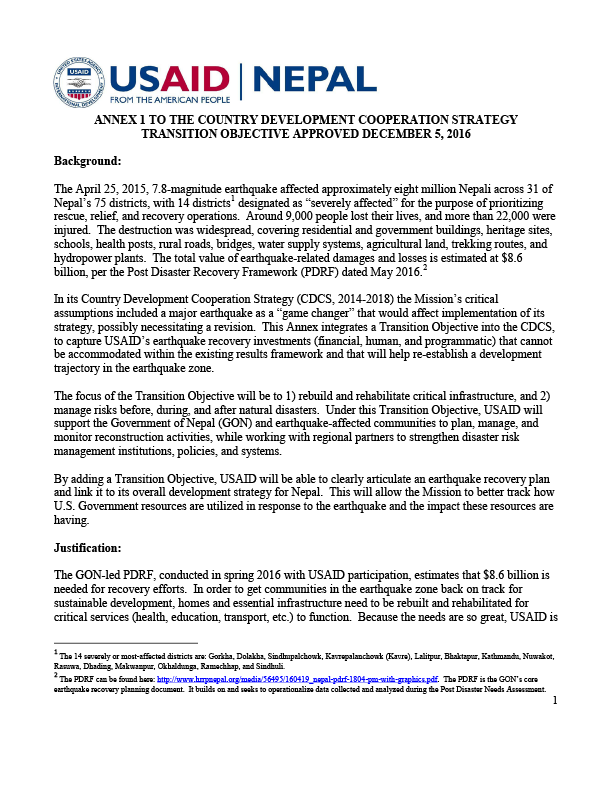 USAID Nepal CDCS 2014-2018 Annex 1: Transition Objective