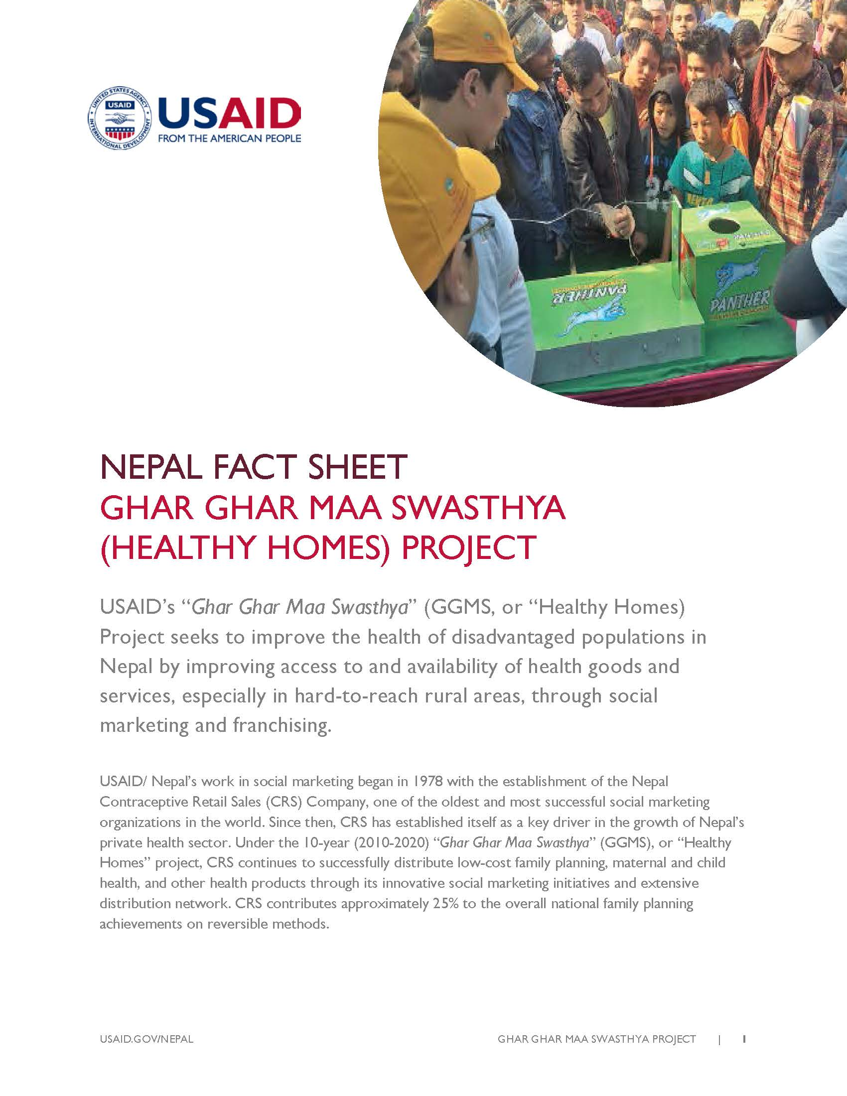 FACTSHEET : GHAR GHAR MAA SWASTHYA (HEALTHY HOMES) PROJECT