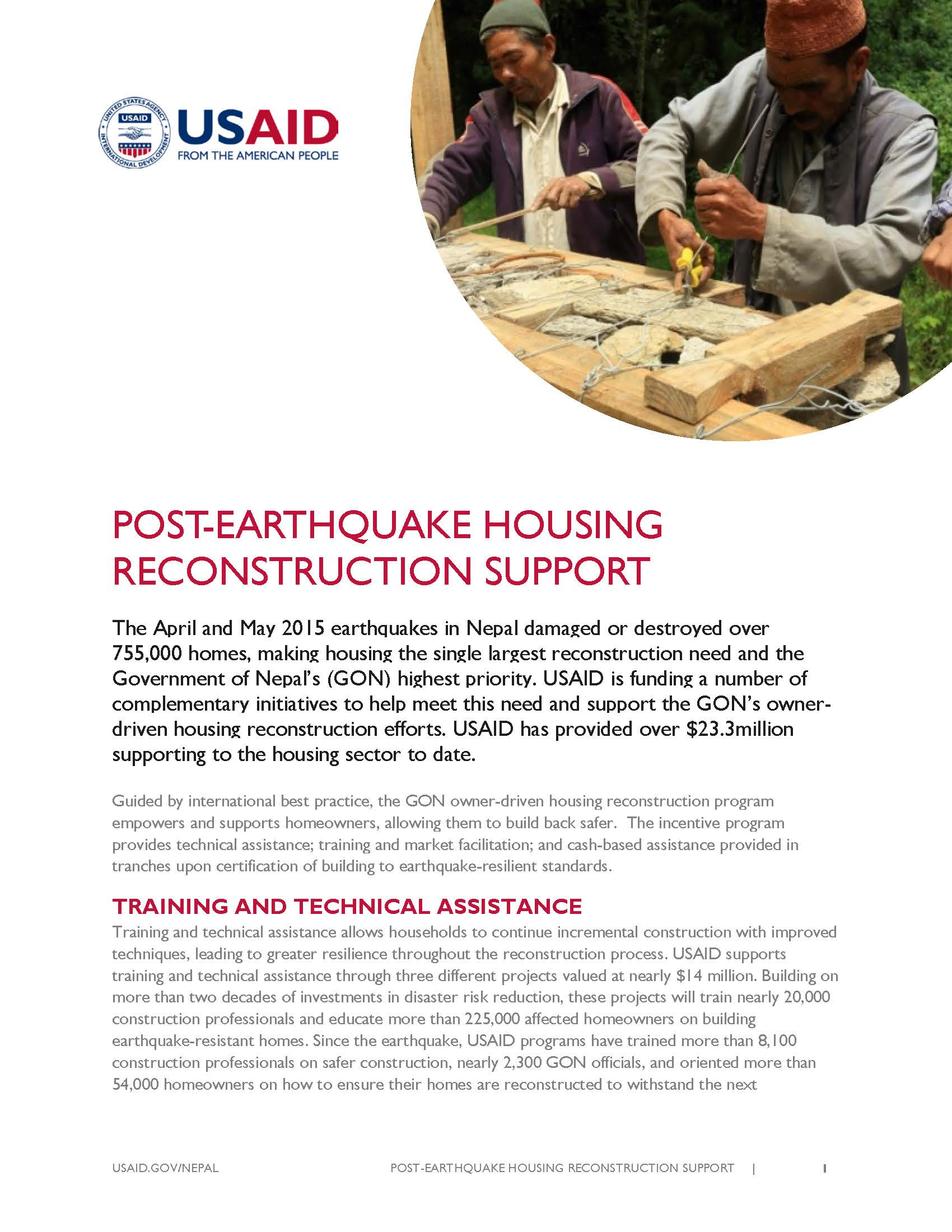 Fact Sheet: POST-EARTHQUAKE HOUSING RECONSTRUCTION SUPPORT