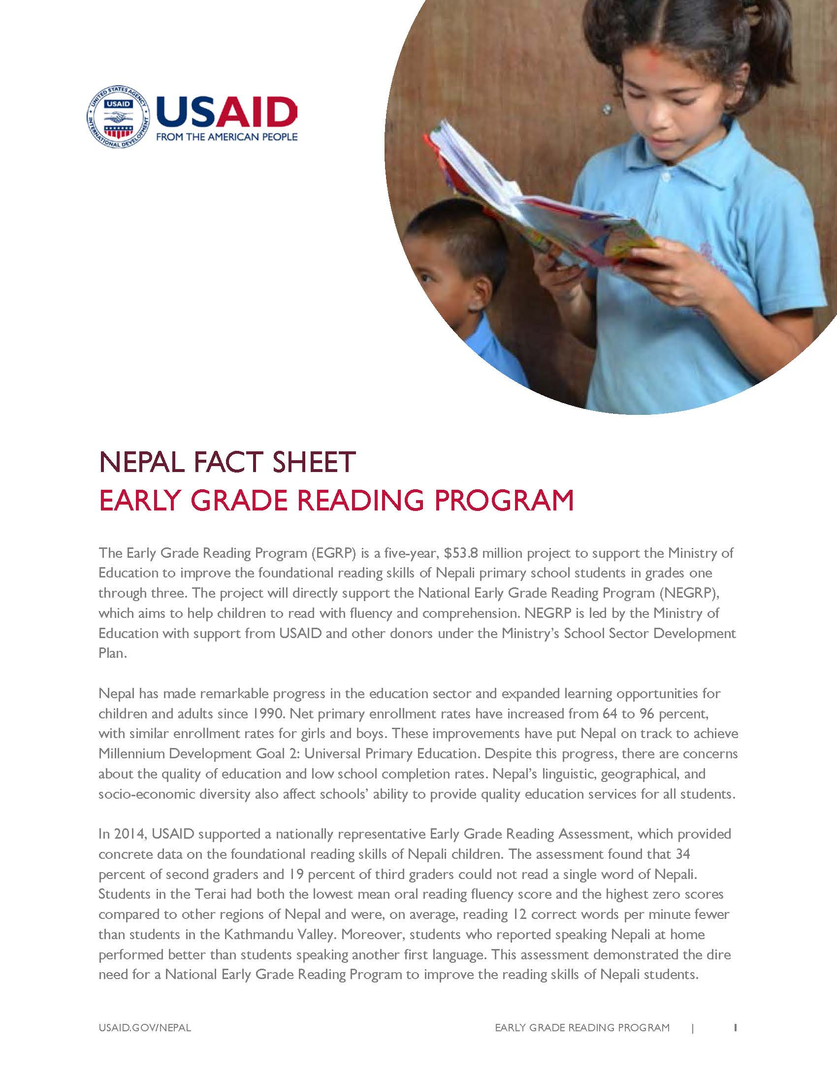 USAID's Early Grade Reading Program (EGRP) in Nepal | Fact