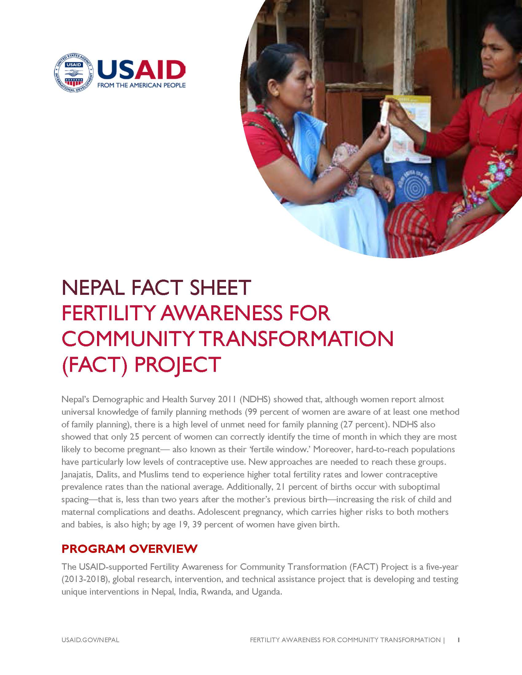 FACTSHEET:  FERTILITY AWARENESS FOR COMMUNITY TRANSFORMATION (FACT) PROJECT