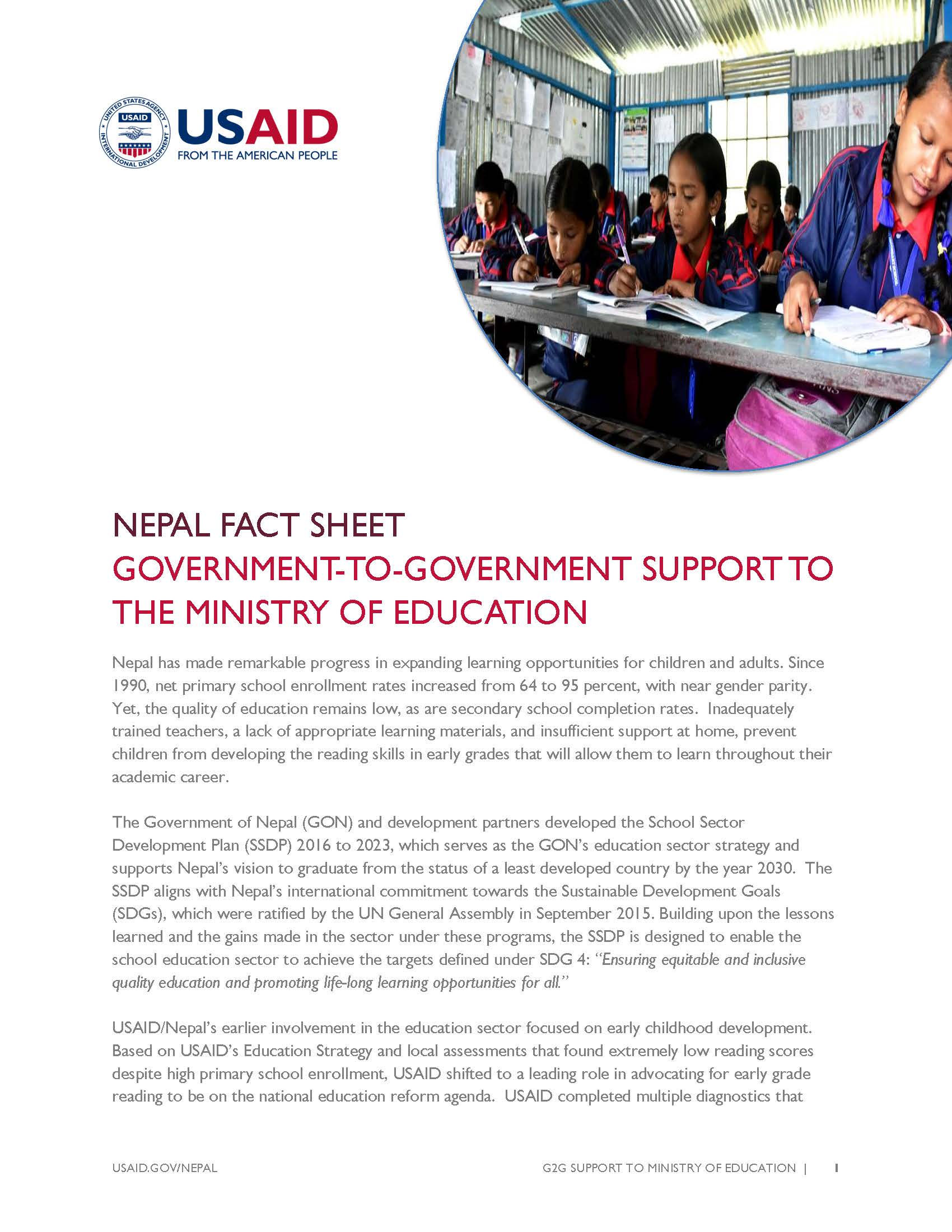 Fact Sheet: GOVERNMENT-TO-GOVERNMENT SUPPORT TO THE MINISTRY OF EDUCATION