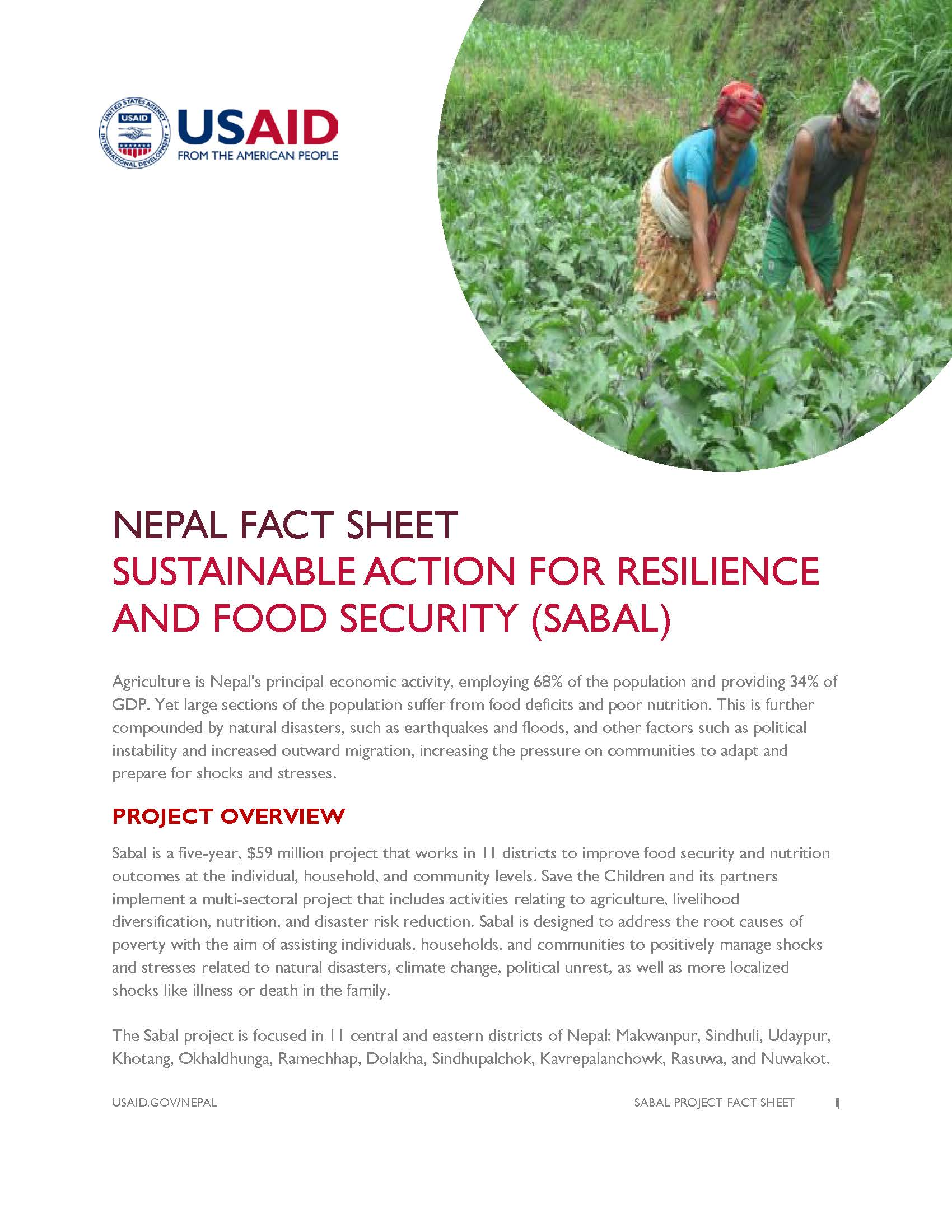 FACT SHEET: Sustainable Action for Resilience and Food Security (SABAL)
