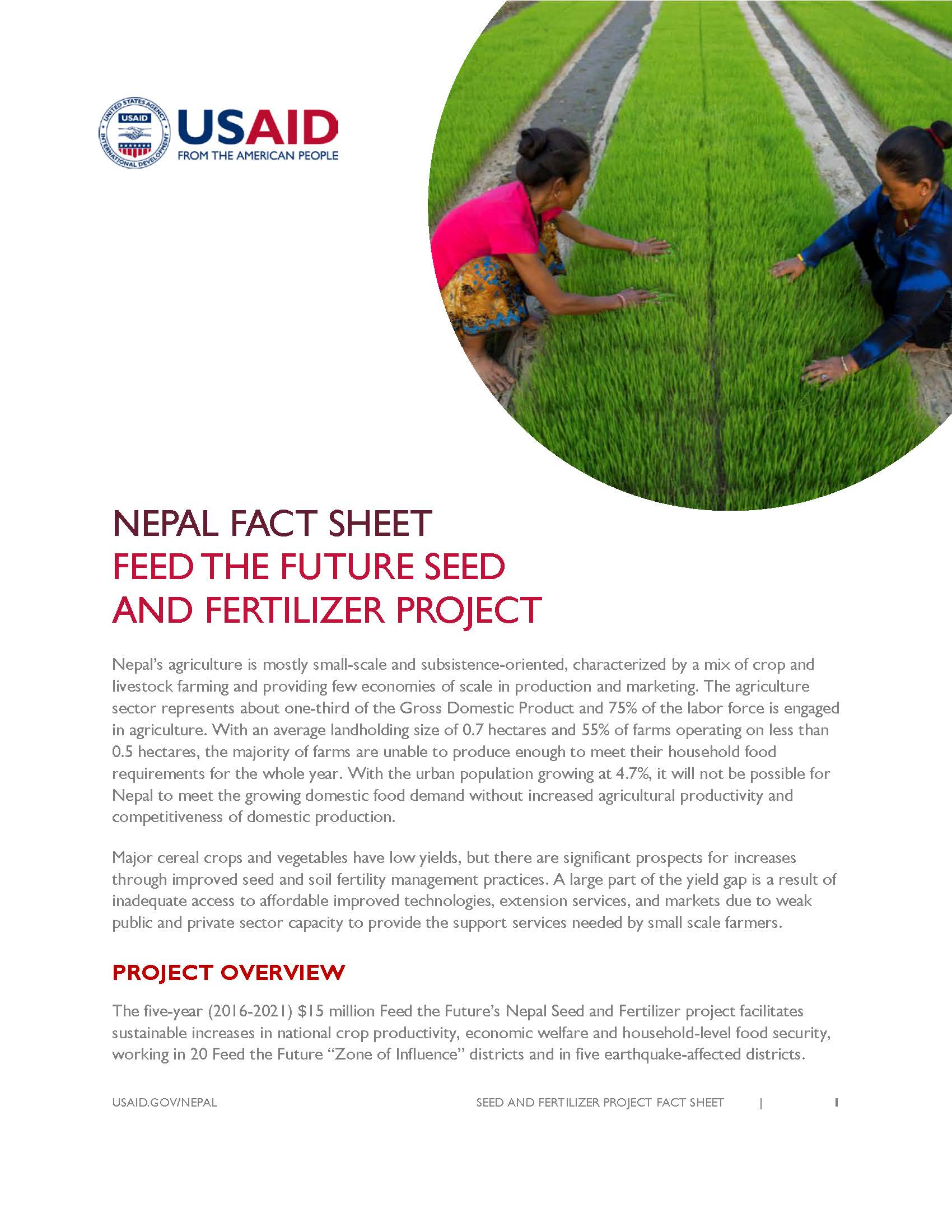 FACT SHEET : FEED THE FUTURE SEED  AND FERTILIZER PROJECT
