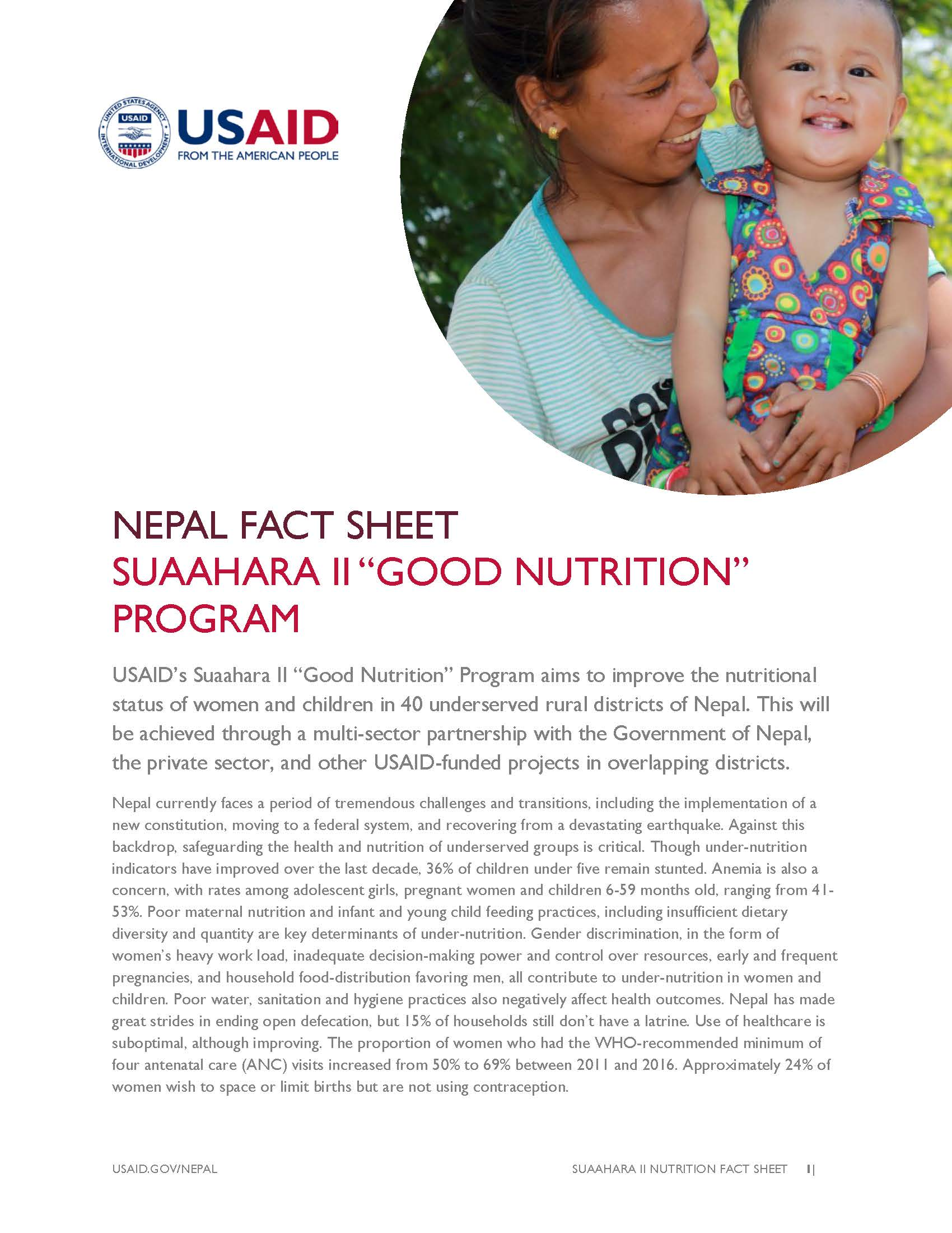 FACT SHEET: SUAAHARA PROJECT II – GOOD NUTRITION Program