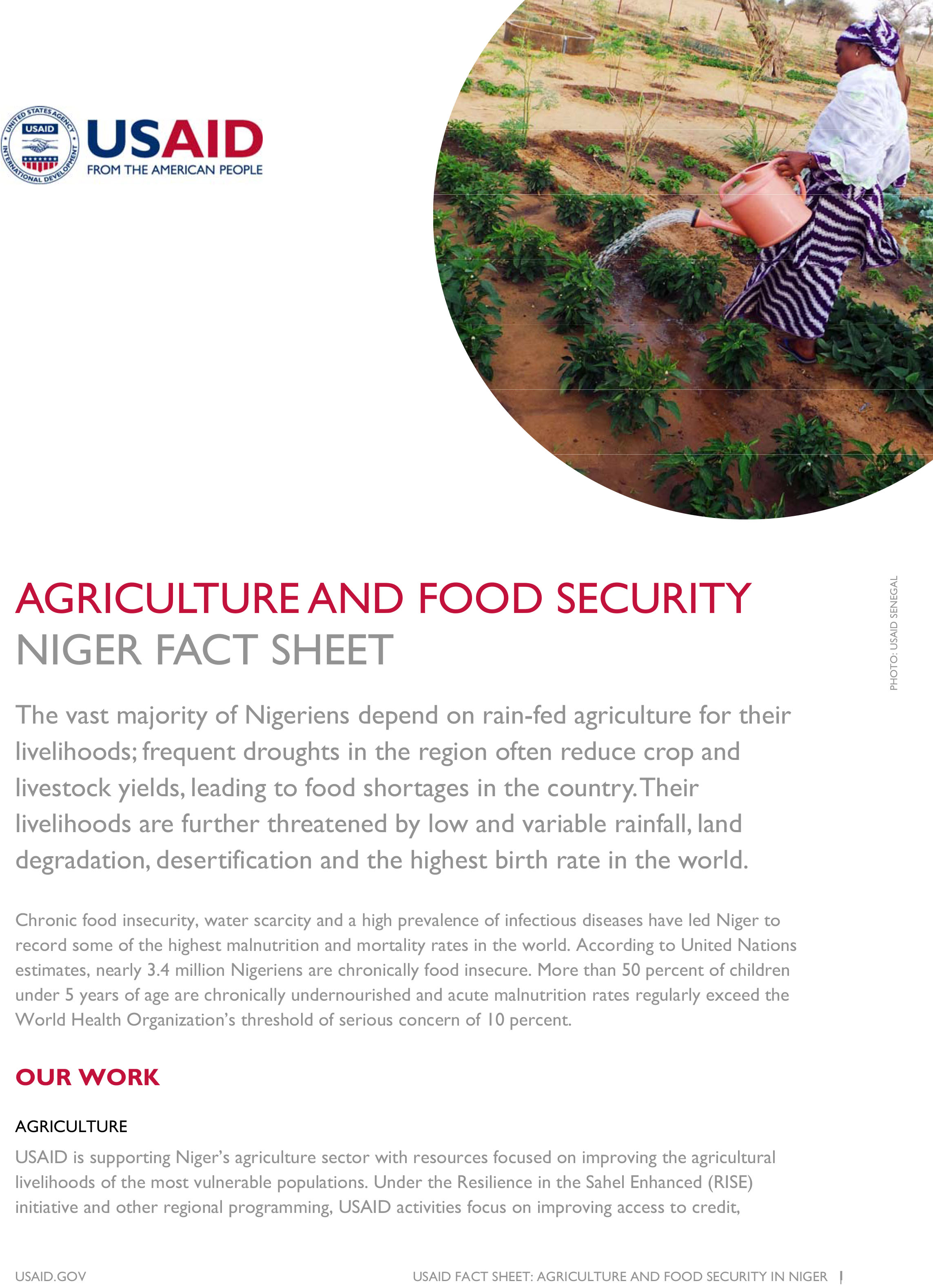 Niger Agriculture & Food Security Fact Sheet