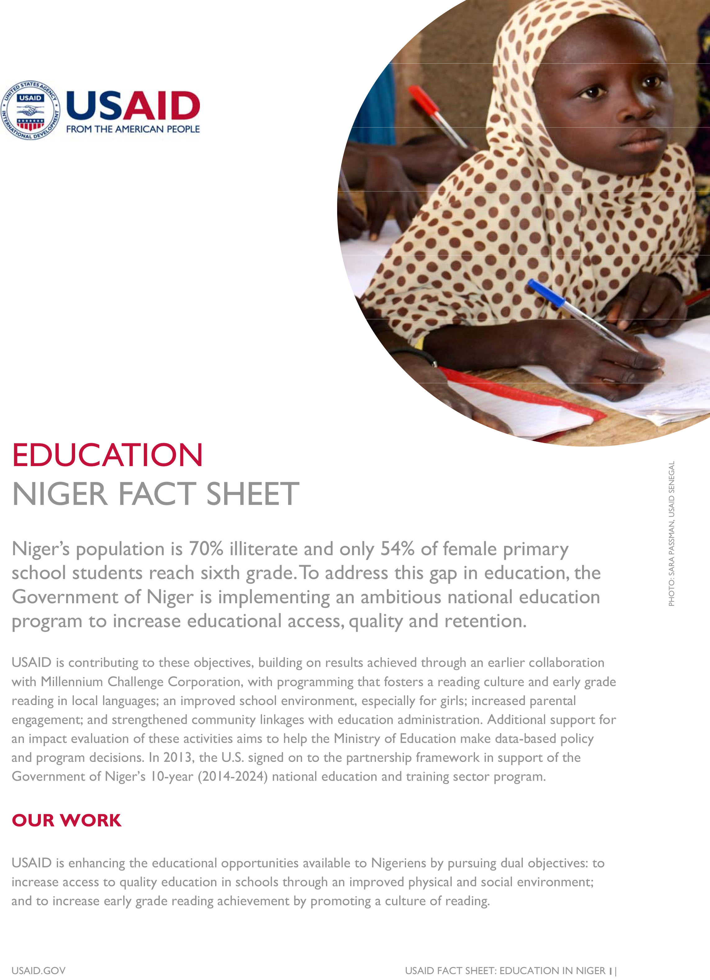 Niger Education Fact Sheet
