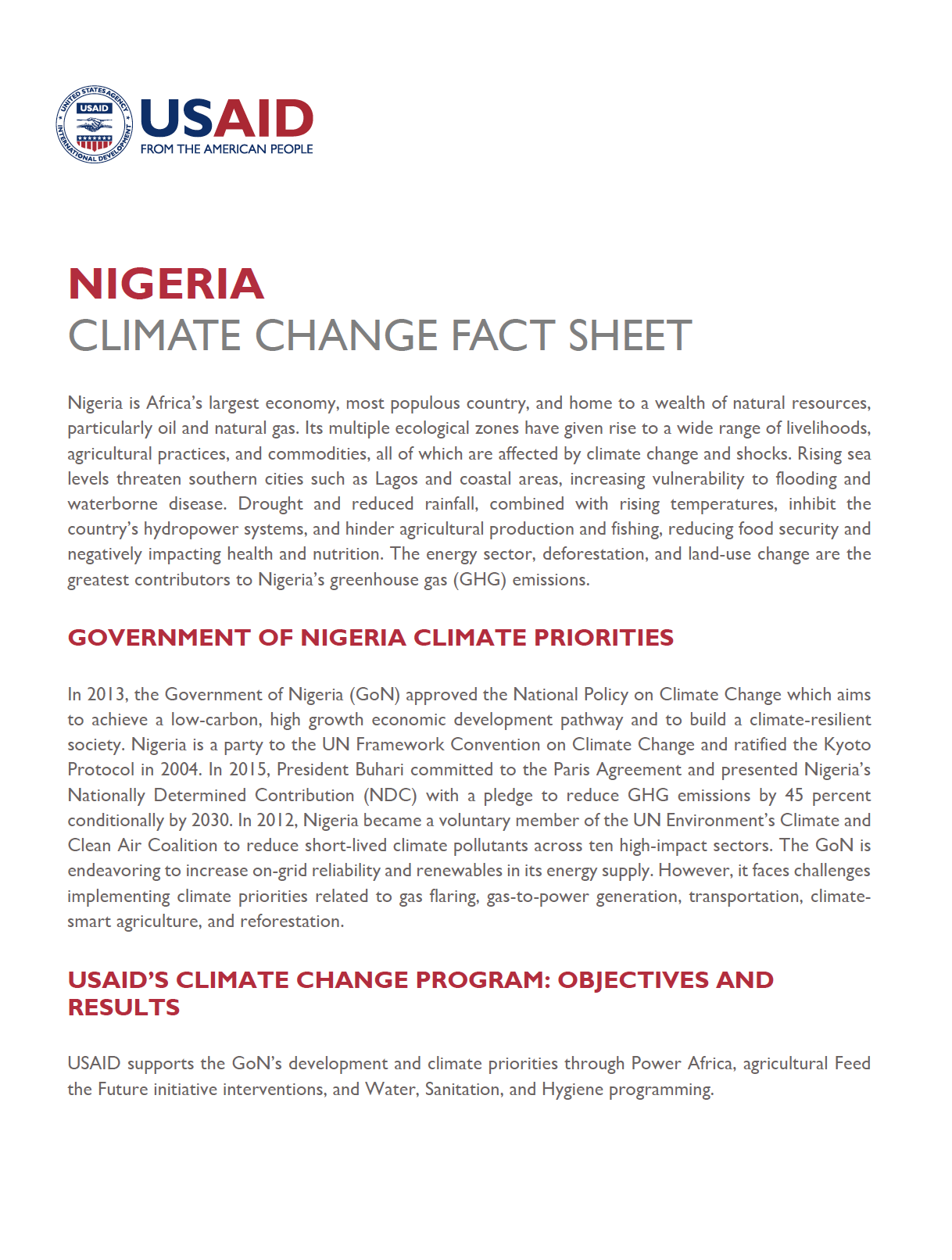 Nigeria Climate Change Country Profile