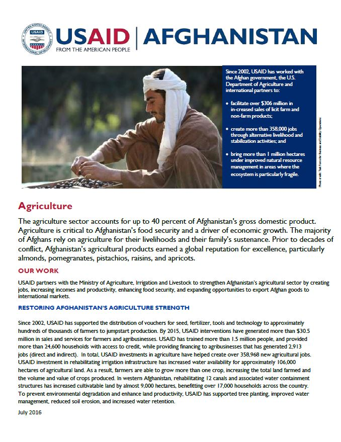 Agriculture Fact Sheet - July 2016