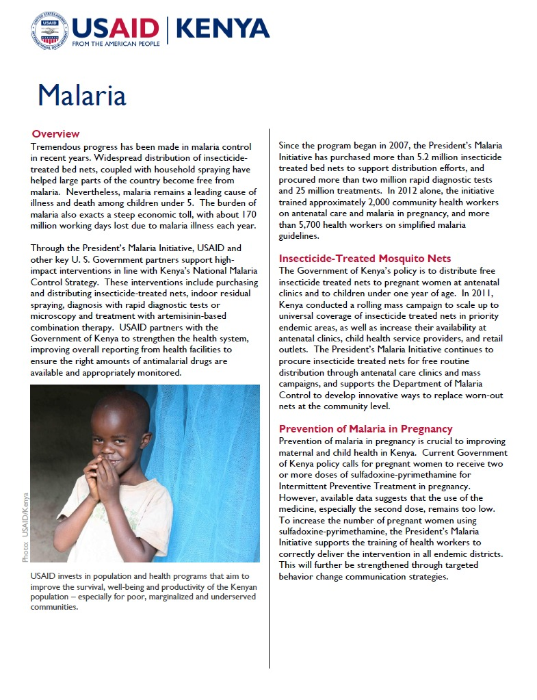 USAID Kenya Malaria Fact Sheet_Sept 2013