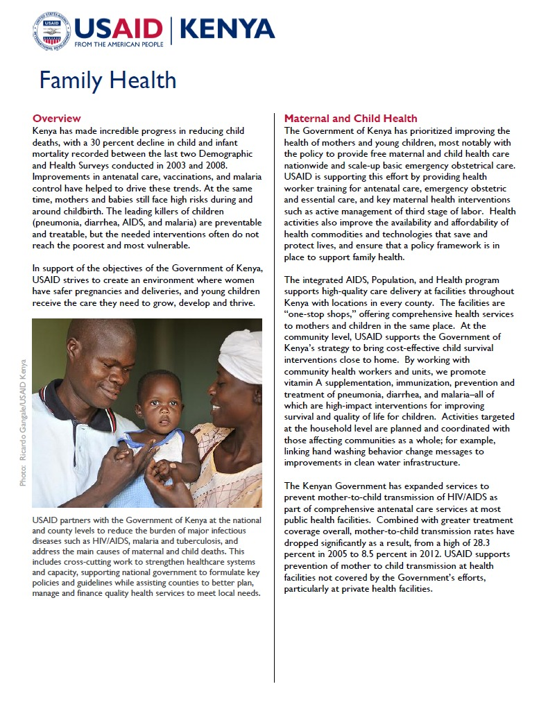 USAID Kenya Family Health Fact Sheet_updated Sept 2013