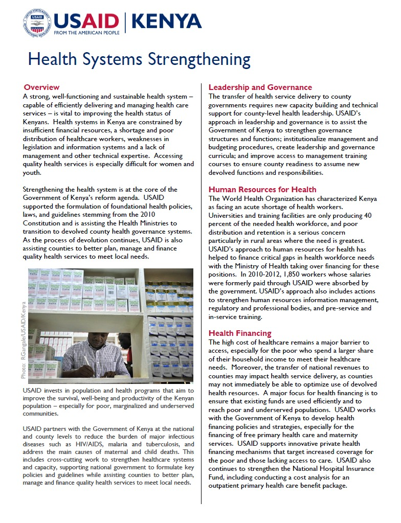 USAID Kenya Health Systems Strengthening Fact Sheet_updated Sept 2013