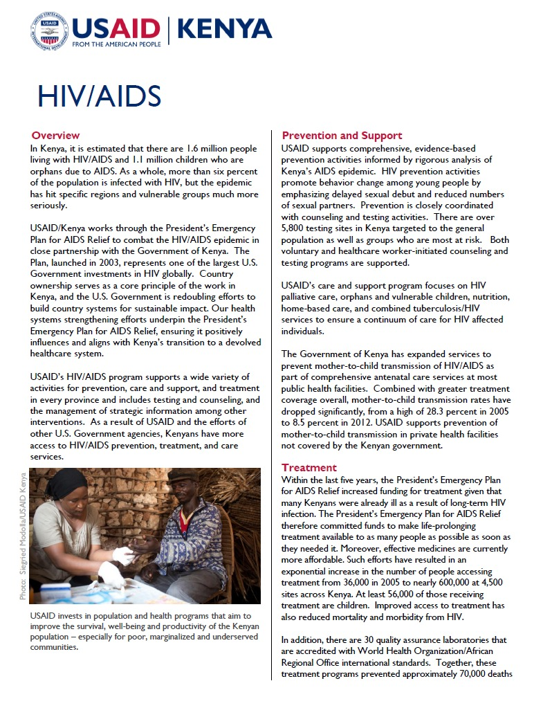 USAID Kenya HIV/AIDS Fact Sheet_updated Sept 2013