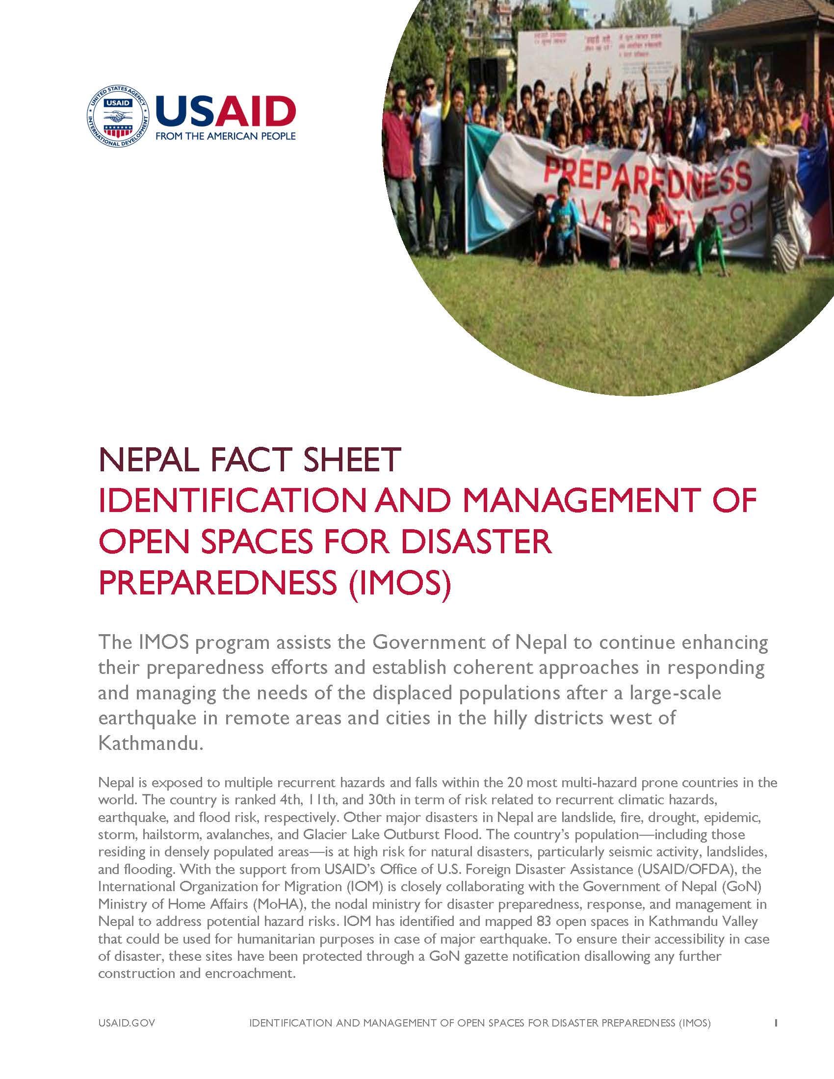 Fact Sheet: IDENTIFICATION AND MANAGEMENT OF OPEN SPACES FOR DISASTER PREPAREDNESS (IMOS)