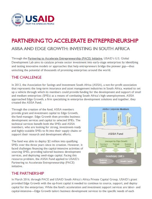 Partnering to Accelerate Entrepreneurship - ASISA and Edge Growth