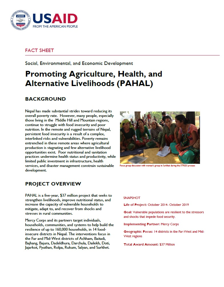 Promoting Agriculture, Health, and Alternative Livelihoods