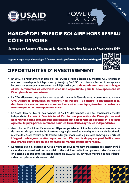 Power Africa: Market Assessment Brief Côte d'Ivoire French