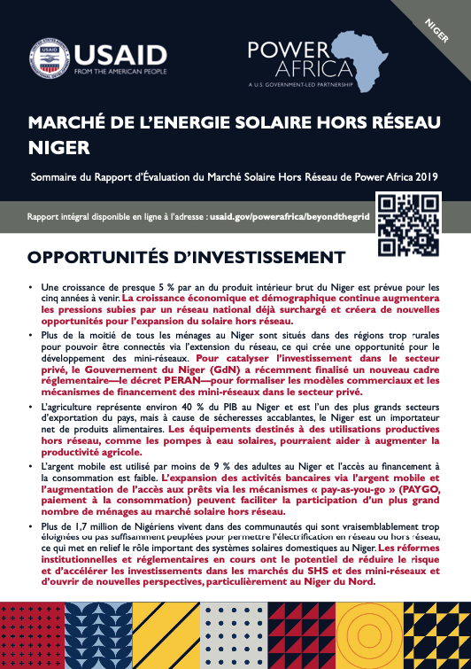 Power Africa: Market Assessment Brief Niger French