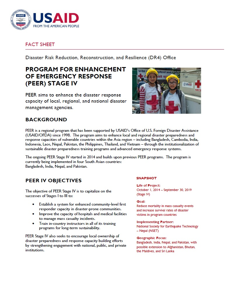 PROGRAM FOR ENHANCEMENT OF EMERGENCY RESPONSE (PEER) STAGE IV
