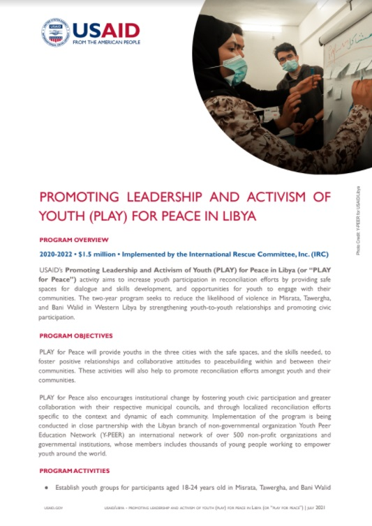 Promoting Leadership and Activism of Youth (PLAY) for Peace in Libya Factsheet
