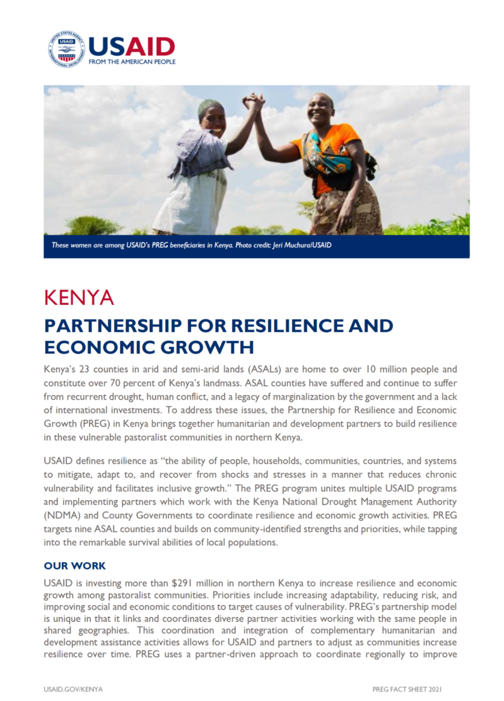 Partnership for Resilience and Economic Growth fact sheet
