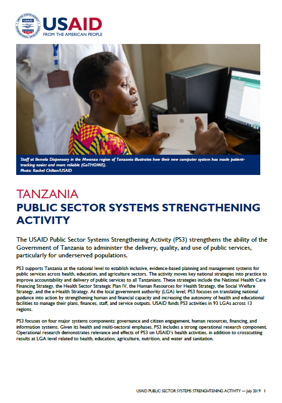 Public Sector Systems Strengthening Activity Fact Sheet