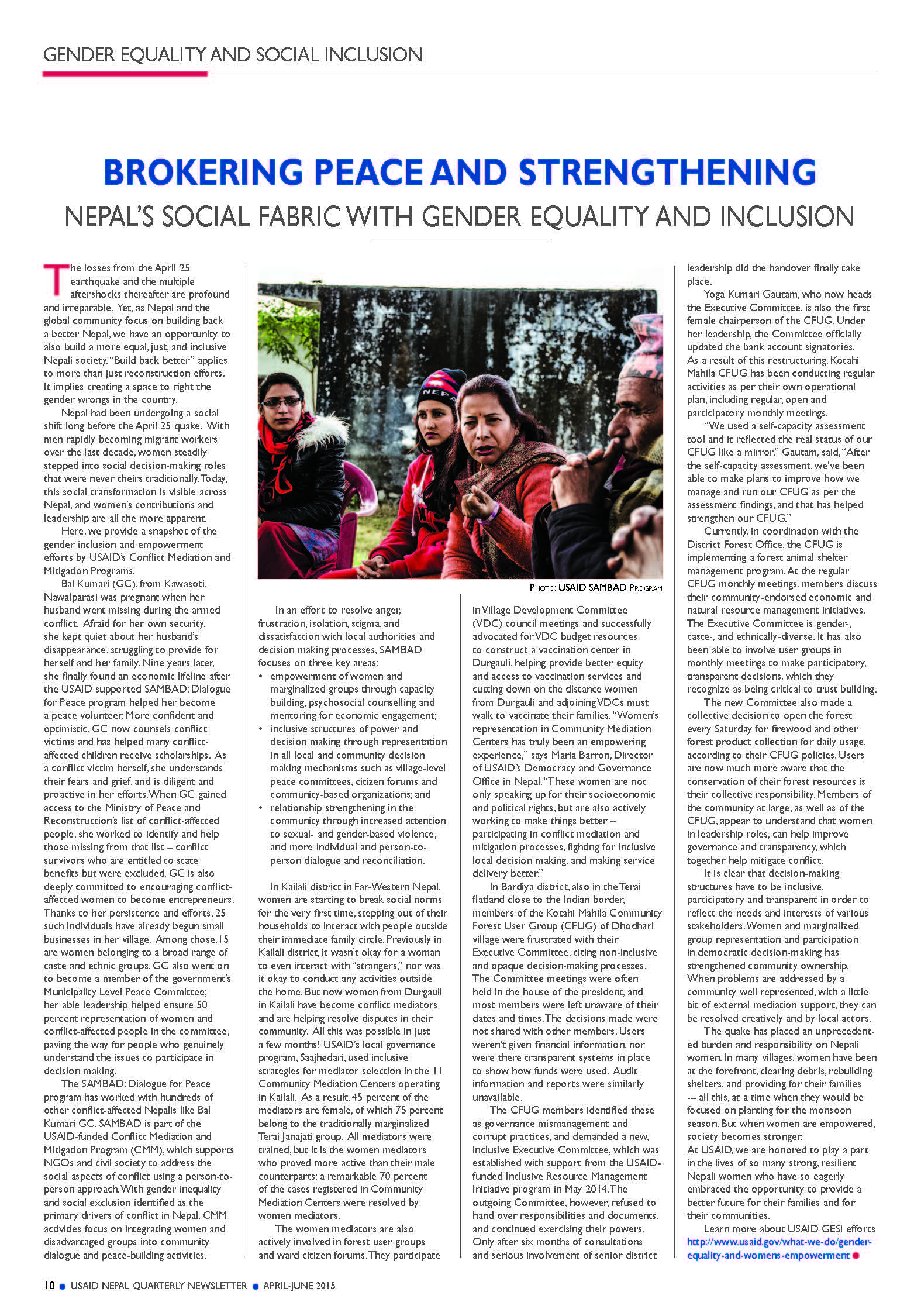 Brokering Peace and Strengthening Nepal's Social Fabric | U S