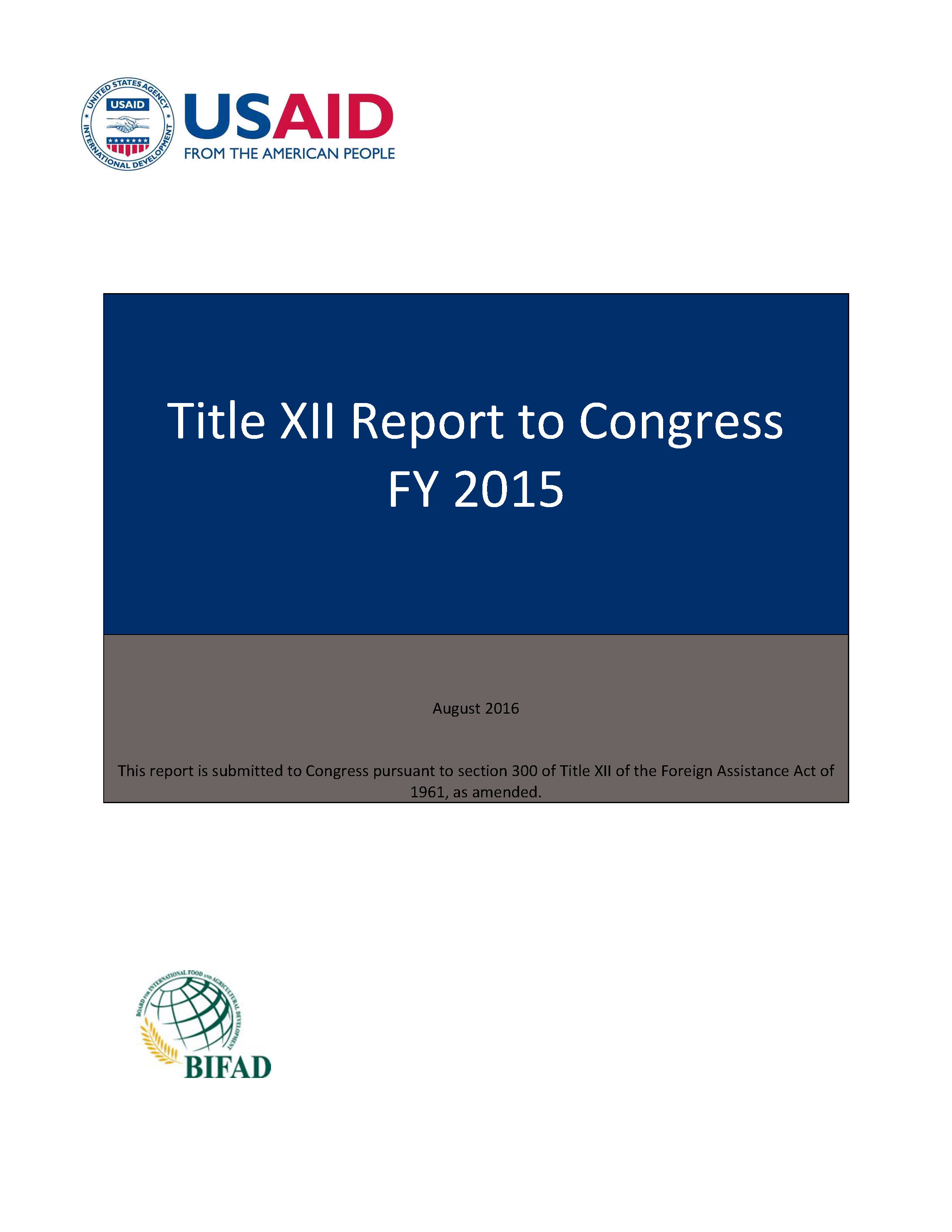 title xii report to congress fy reports to congress u s title xii report to congress for fy 2015